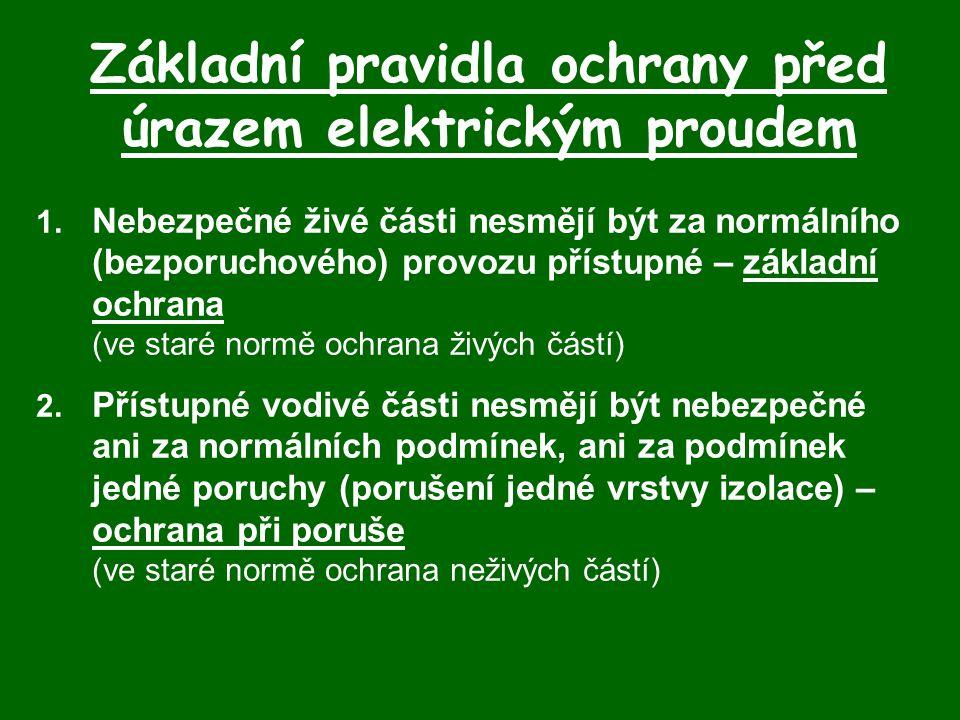 Základní pravidla ochrany před úrazem elektrickým proudem