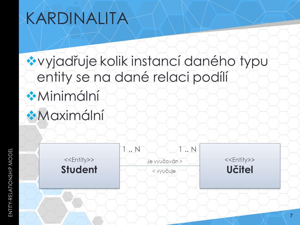 Kardinalita Entity-Relationship Model. vyjadřuje kolik instancí daného typu entity se na dané relaci podílí.