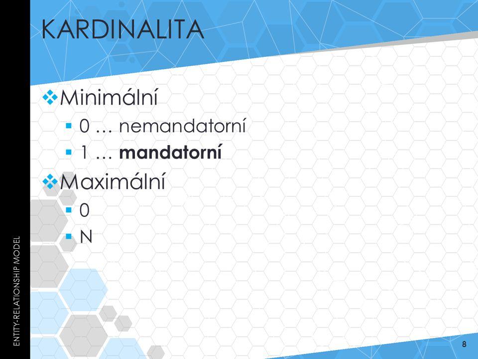 Kardinalita Minimální Maximální 0 … nemandatorní 1 … mandatorní N