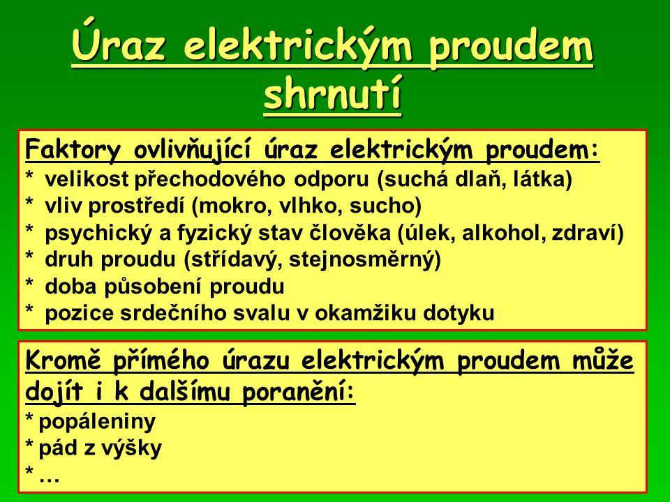 Úraz elektrickým proudem shrnutí
