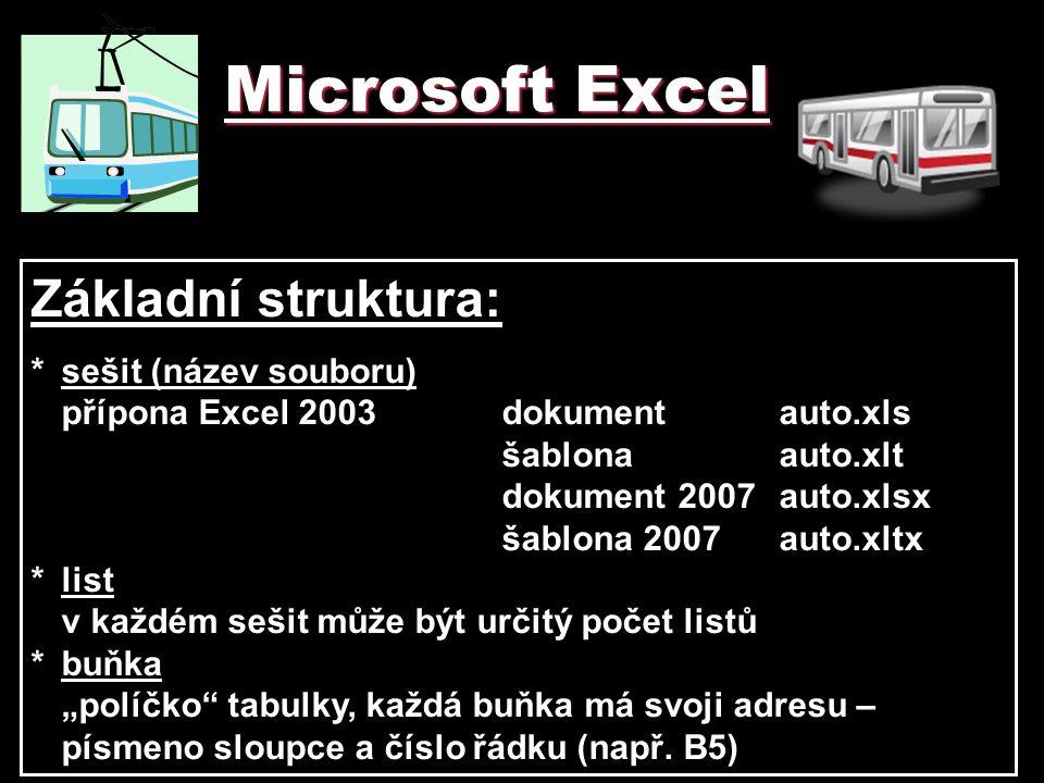Microsoft Excel Základní struktura: * sešit (název souboru)