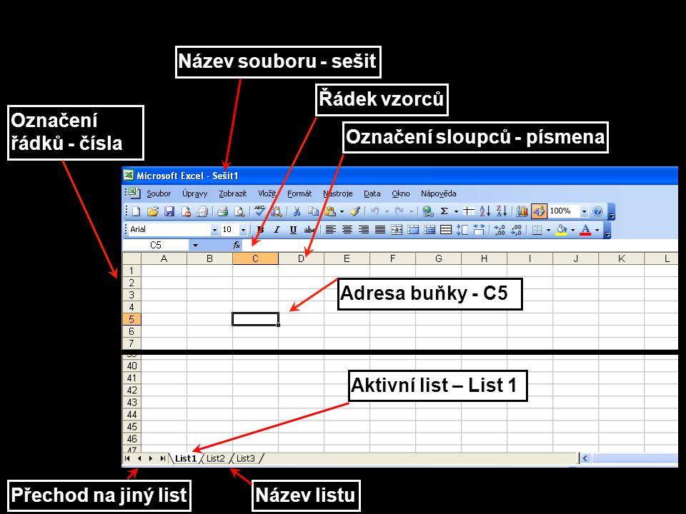 Název souboru - sešit Řádek vzorců. Označení řádků - čísla. Označení sloupců - písmena. Adresa buňky - C5.