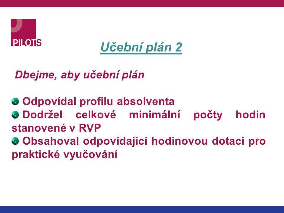 Učební plán 2 Dbejme, aby učební plán Odpovídal profilu absolventa