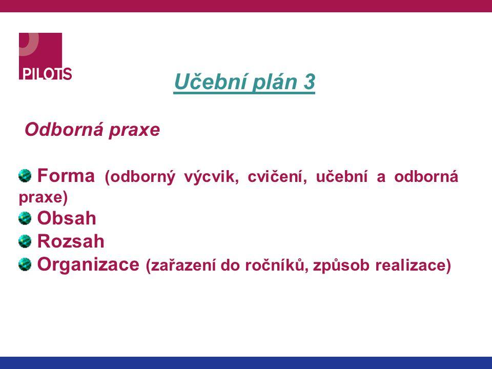 Učební plán 3 Odborná praxe