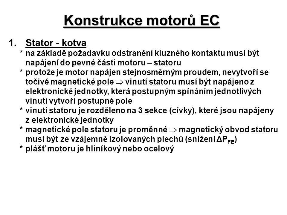 Konstrukce motorů EC 1. Stator - kotva
