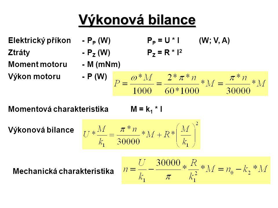 Výkonová bilance Elektrický příkon - PP (W) PP = U * I (W; V, A)
