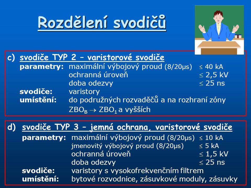 Rozdělení svodičů c) svodiče TYP 2 – varistorové svodiče
