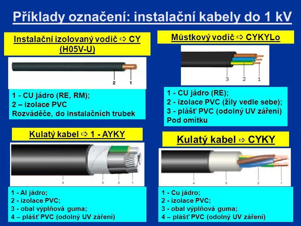 Příklady označení: instalační kabely do 1 kV