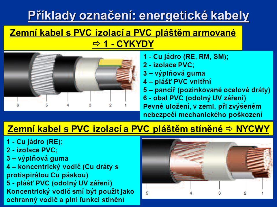Příklady označení: energetické kabely
