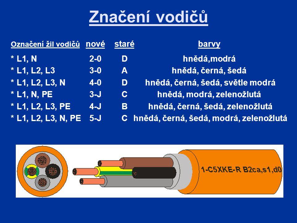 Značení vodičů * L1, N 2-0 D hnědá,modrá
