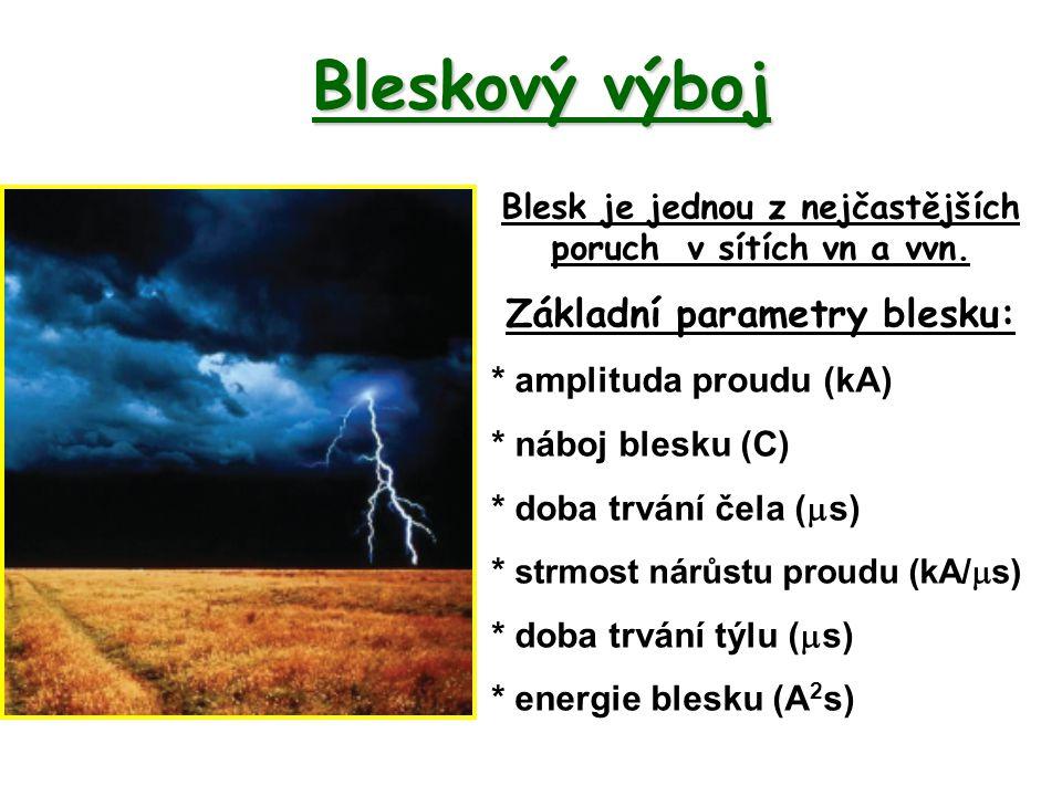 Bleskový výboj Základní parametry blesku: * amplituda proudu (kA)