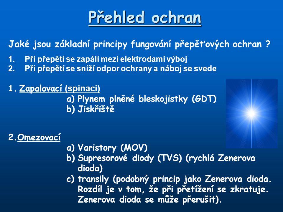 Přehled ochran Jaké jsou základní principy fungování přepěťových ochran 1. Při přepětí se zapálí mezi elektrodami výboj.
