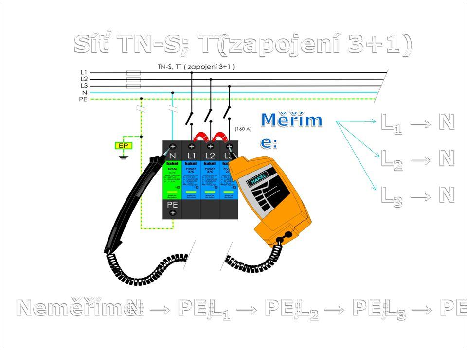 Síť TN-S; TT (zapojení 3+1) L1 → N L2 → N L3 → N Neměříme: N → PE;