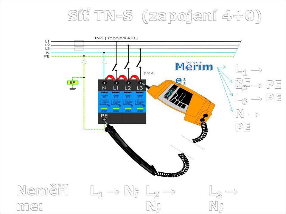 Síť TN-S (zapojení 4+0) Neměříme: L1 → N; L2 → N; L3 → N; Měříme: