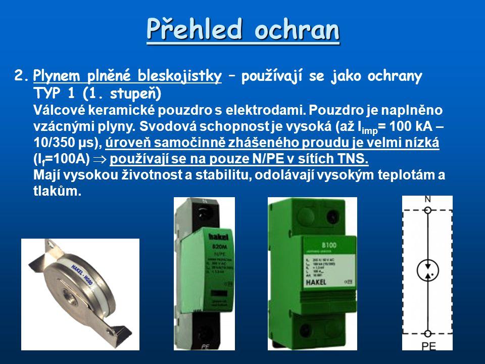 Přehled ochran 2. Plynem plněné bleskojistky – používají se jako ochrany. TYP 1 (1. stupeň)