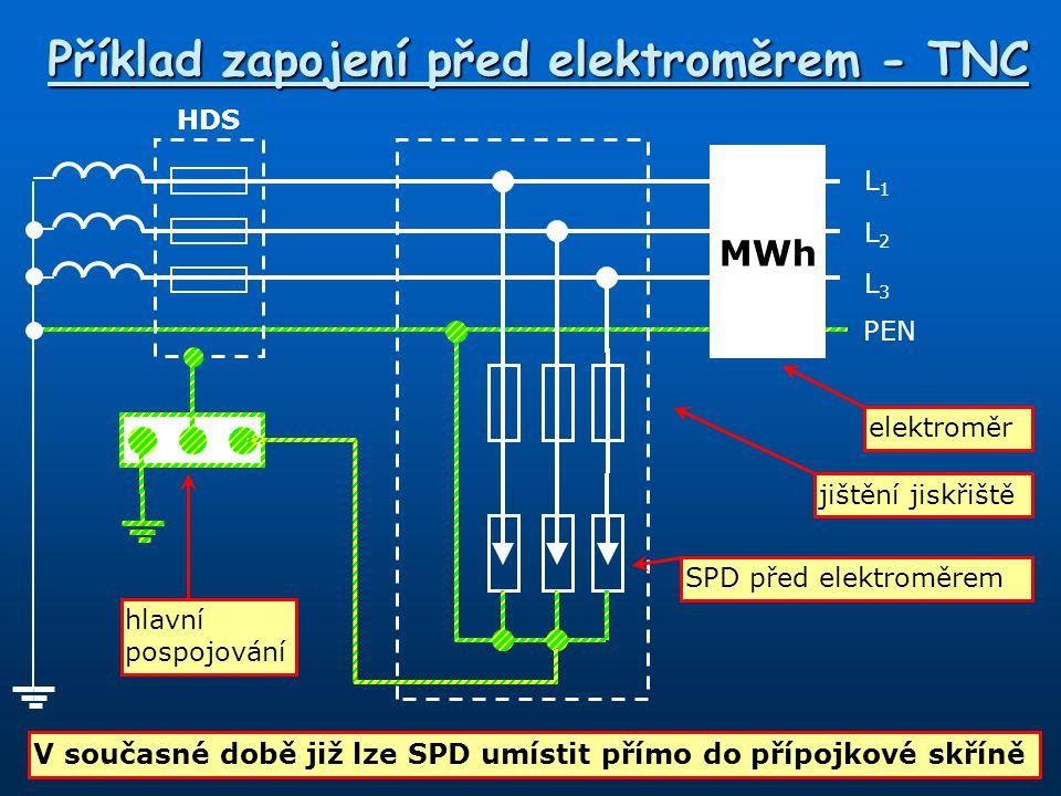Příklad zapojení před elektroměrem - TNC