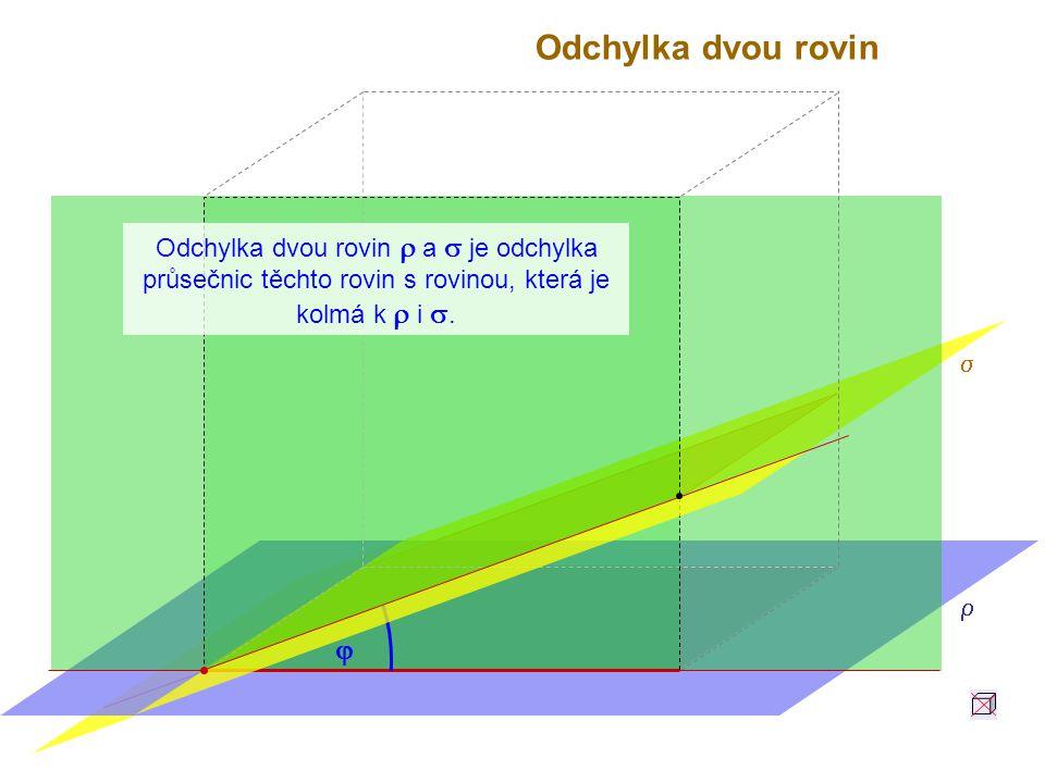 Odchylka dvou rovin Odchylka dvou rovin r a s je odchylka průsečnic těchto rovin s rovinou, která je kolmá k r i s.