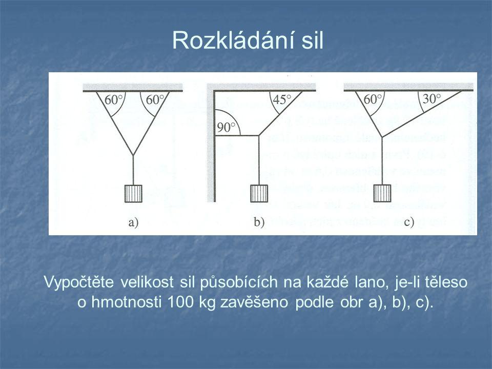 Rozkládání sil Vypočtěte velikost sil působících na každé lano, je-li těleso o hmotnosti 100 kg zavěšeno podle obr a), b), c).