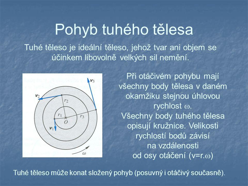 Pohyb tuhého tělesa Tuhé těleso je ideální těleso, jehož tvar ani objem se účinkem libovolně velkých sil nemění.