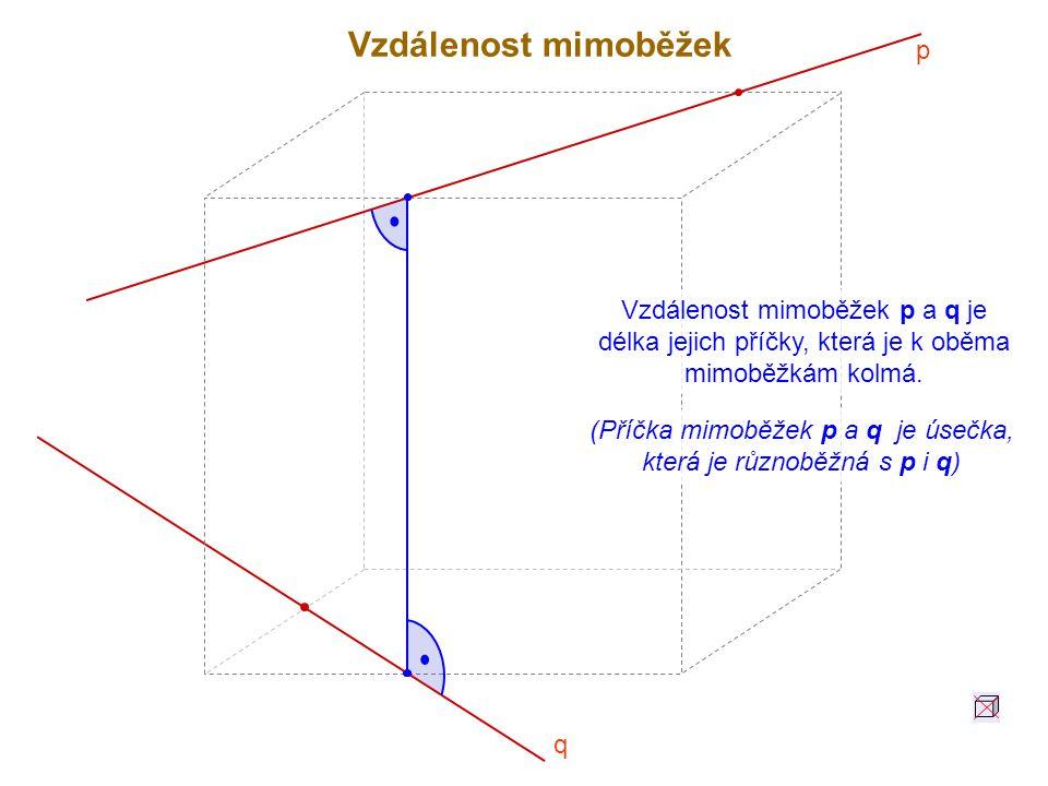 (Příčka mimoběžek p a q je úsečka, která je různoběžná s p i q)