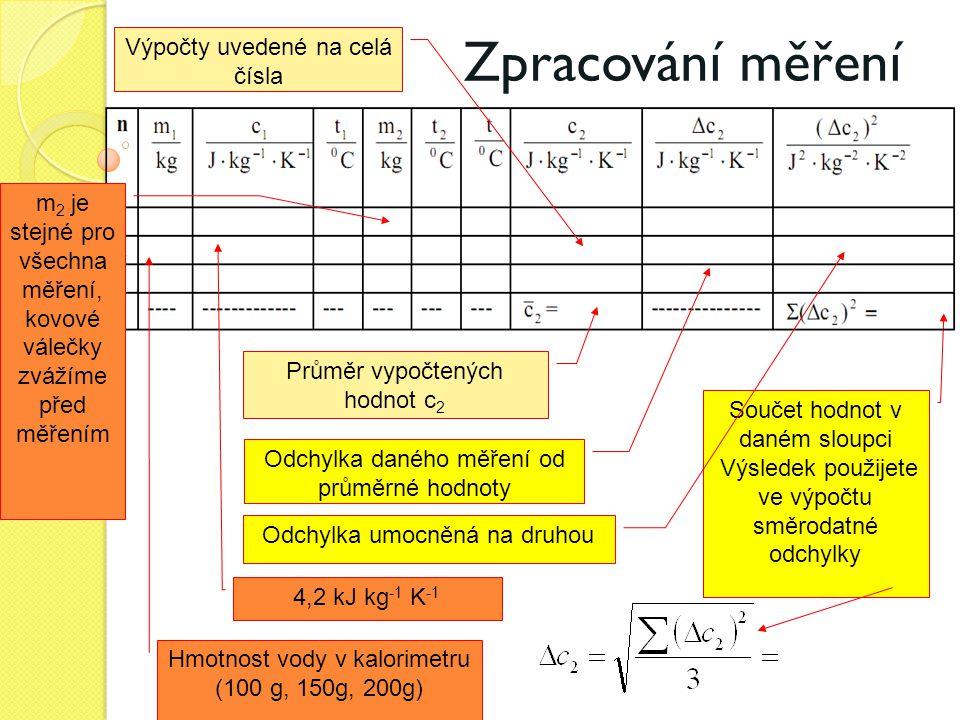 Zpracování měření Výpočty uvedené na celá čísla