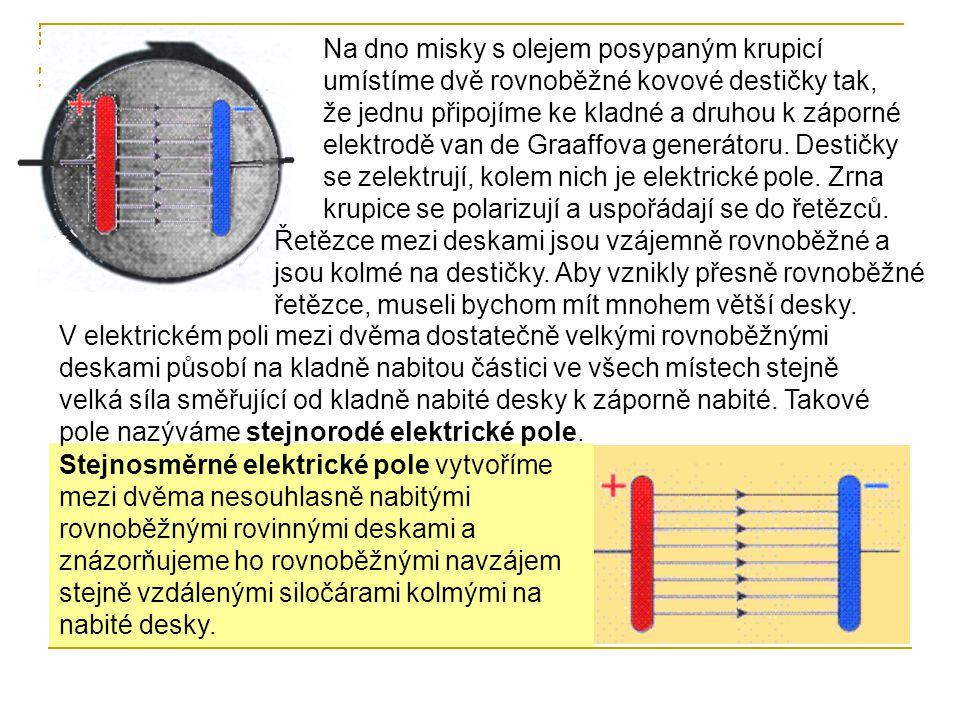 Na dno misky s olejem posypaným krupicí umístíme dvě rovnoběžné kovové destičky tak, že jednu připojíme ke kladné a druhou k záporné elektrodě van de Graaffova generátoru. Destičky se zelektrují, kolem nich je elektrické pole. Zrna krupice se polarizují a uspořádají se do řetězců.