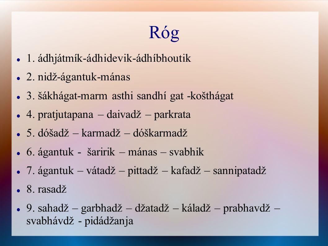 Róg 1. ádhjátmík-ádhidevik-ádhíbhoutik 2. nidž-ágantuk-mánas