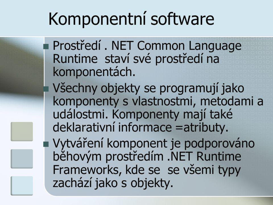 Komponentní software Prostředí . NET Common Language Runtime staví své prostředí na komponentách.