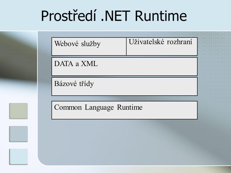 Prostředí .NET Runtime Webové služby Uživatelské rozhraní DATA a XML