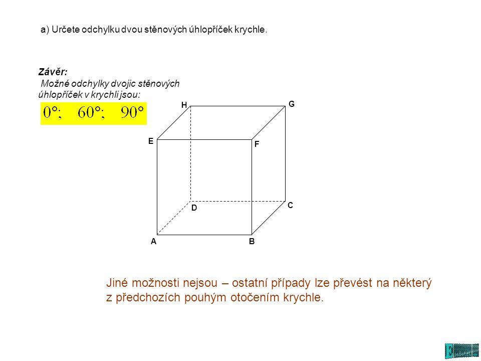 a) Určete odchylku dvou stěnových úhlopříček krychle.
