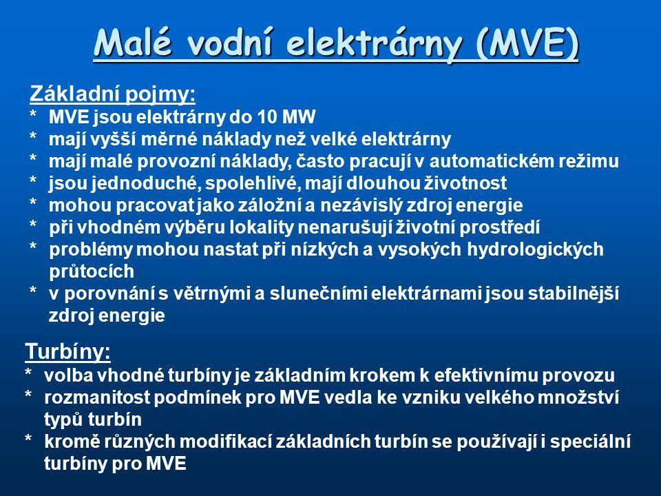 Malé vodní elektrárny (MVE)