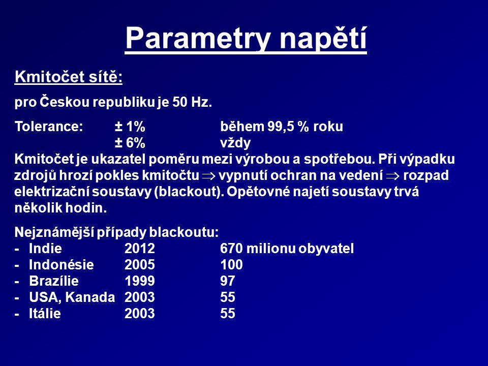Parametry napětí Kmitočet sítě: pro Českou republiku je 50 Hz.