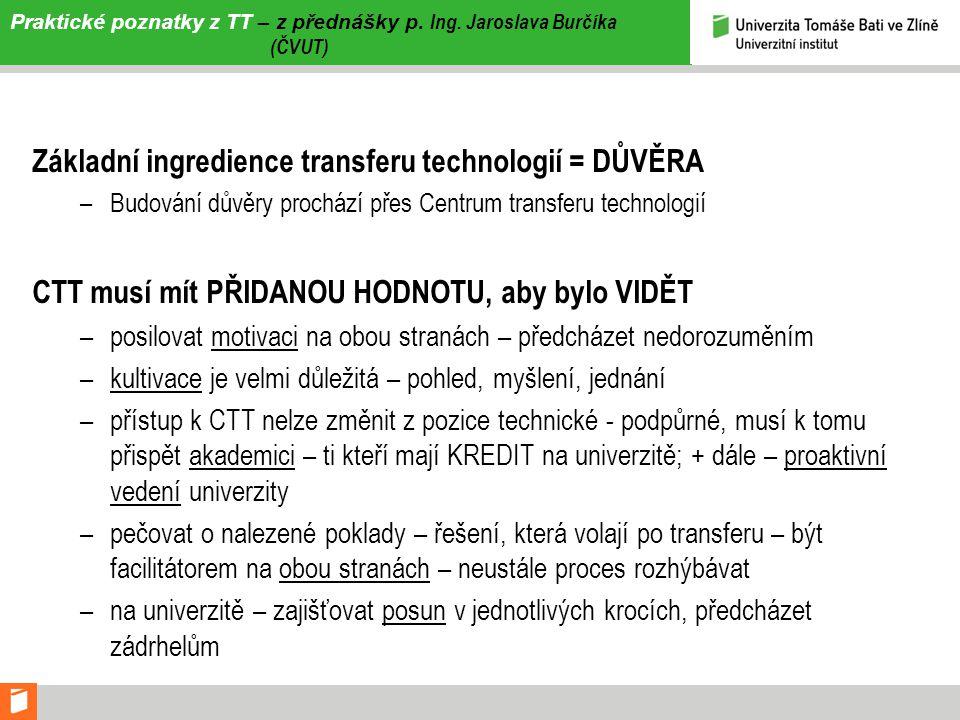 Praktické poznatky z TT – z přednášky p. Ing. Jaroslava Burčíka (ČVUT)