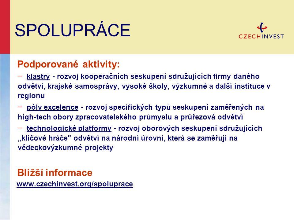 SPOLUPRÁCE Podporované aktivity: Bližší informace