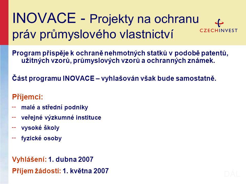 INOVACE - Projekty na ochranu práv průmyslového vlastnictví