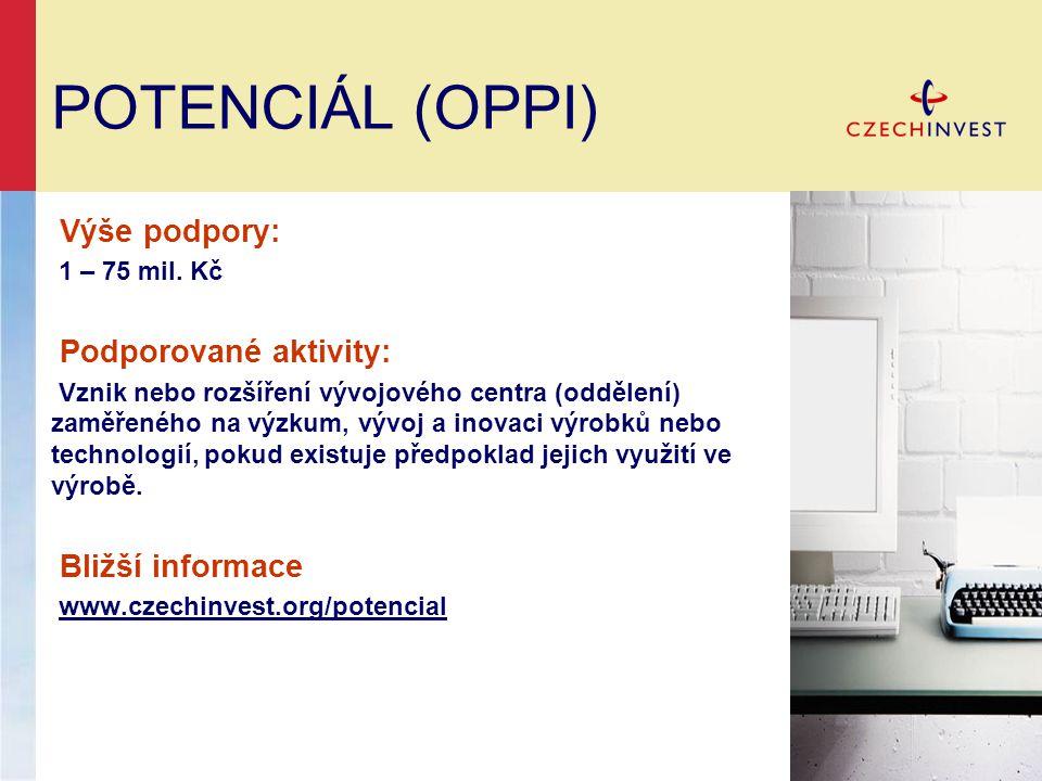 POTENCIÁL (OPPI) Výše podpory: Podporované aktivity: Bližší informace