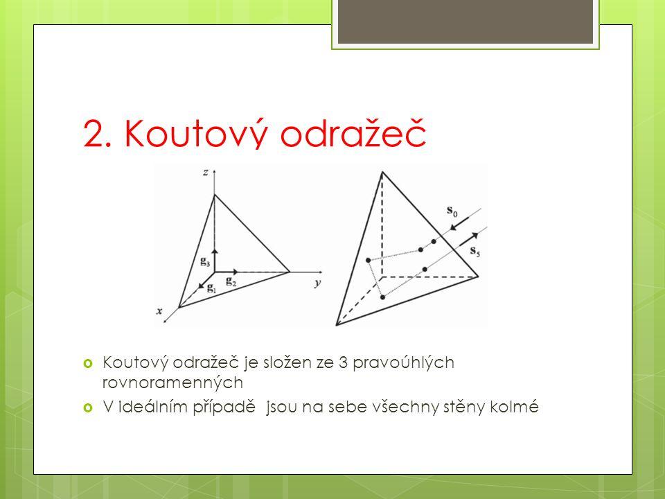 2. Koutový odražeč Koutový odražeč je složen ze 3 pravoúhlých rovnoramenných.