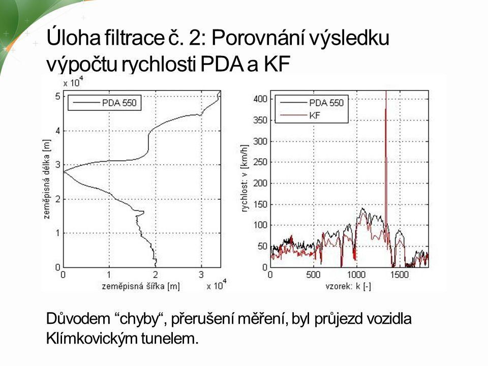 Úloha filtrace č. 2: Porovnání výsledku výpočtu rychlosti PDA a KF