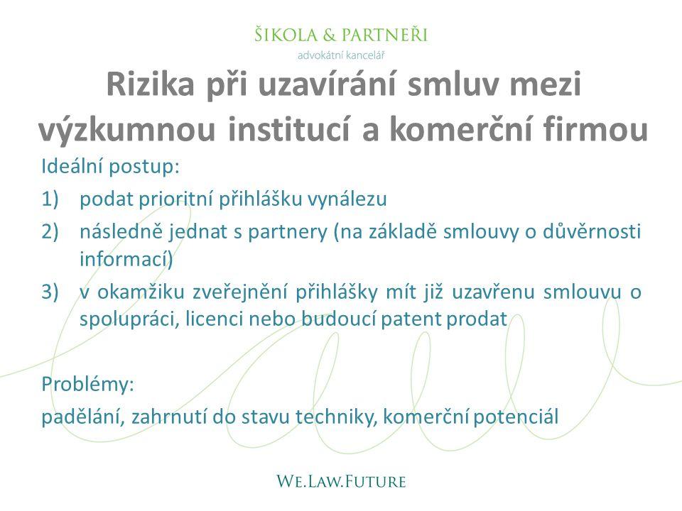 Rizika při uzavírání smluv mezi výzkumnou institucí a komerční firmou