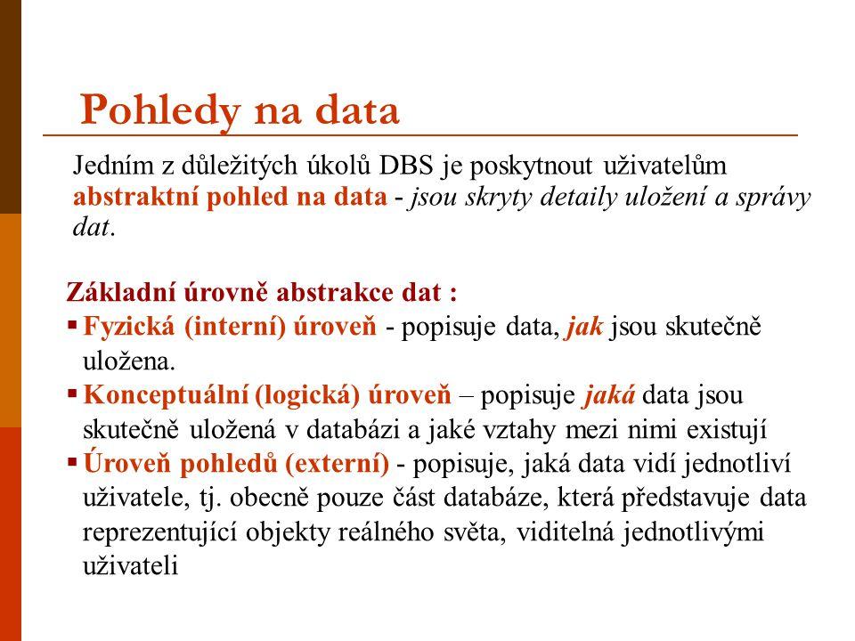 Pohledy na data Jedním z důležitých úkolů DBS je poskytnout uživatelům abstraktní pohled na data - jsou skryty detaily uložení a správy dat.