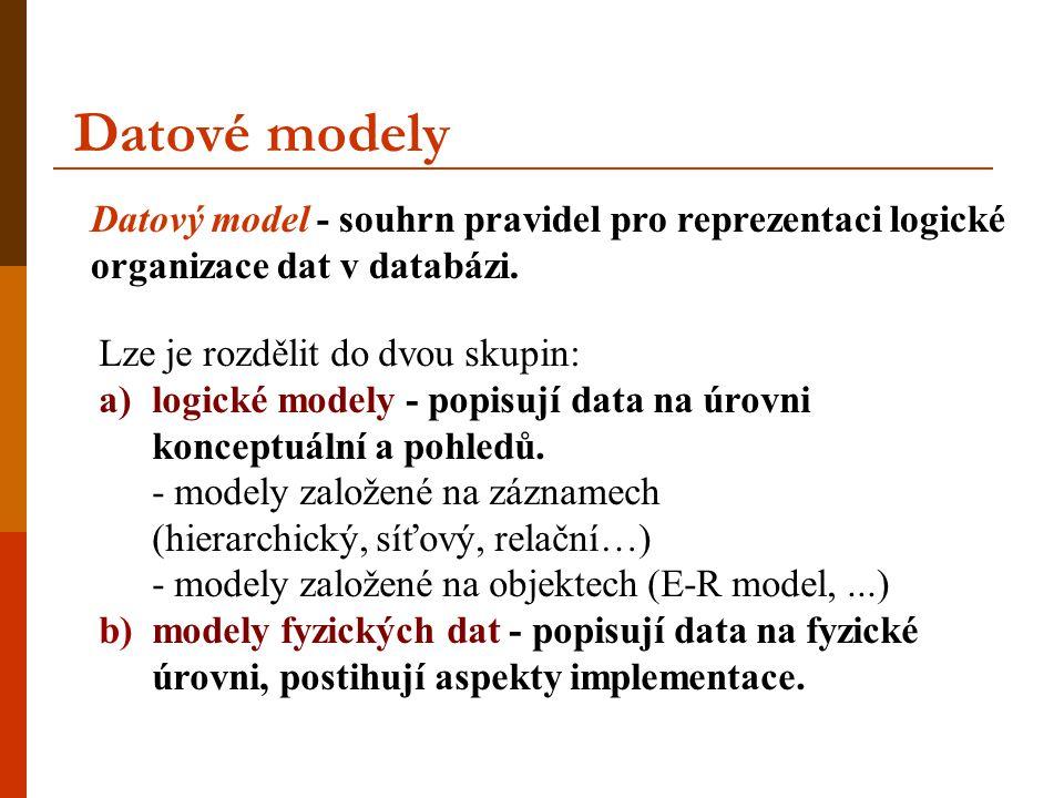 Datové modely Datový model - souhrn pravidel pro reprezentaci logické organizace dat v databázi. Lze je rozdělit do dvou skupin: