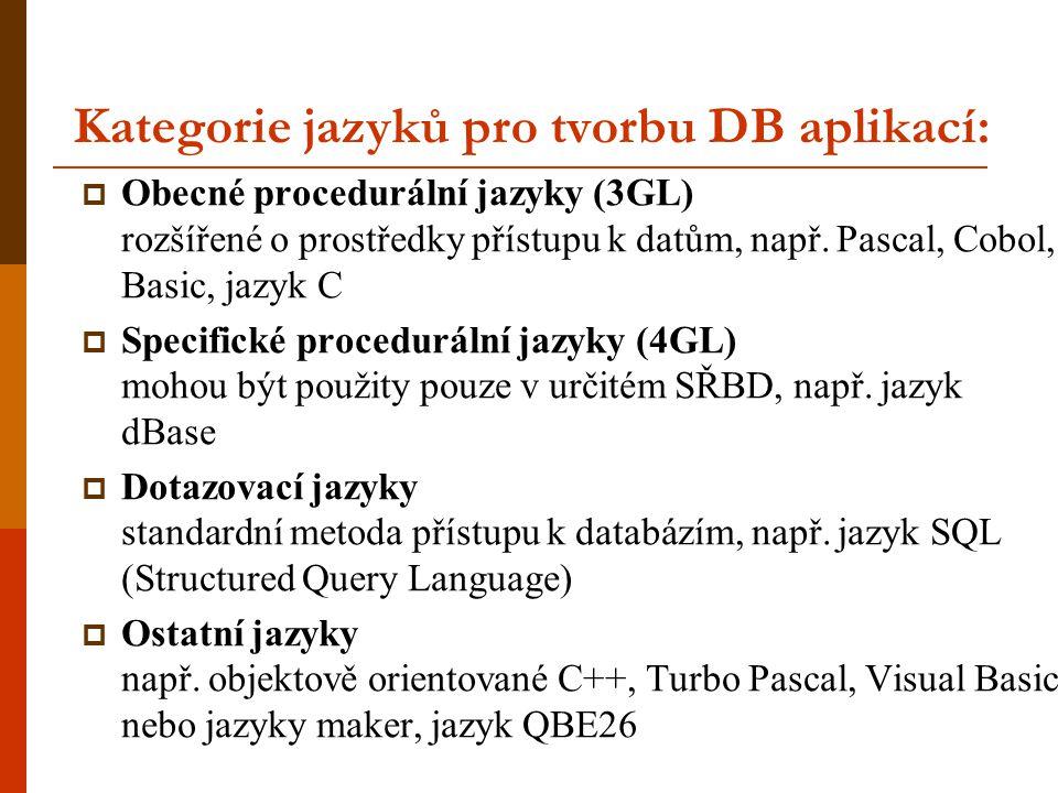 Kategorie jazyků pro tvorbu DB aplikací: