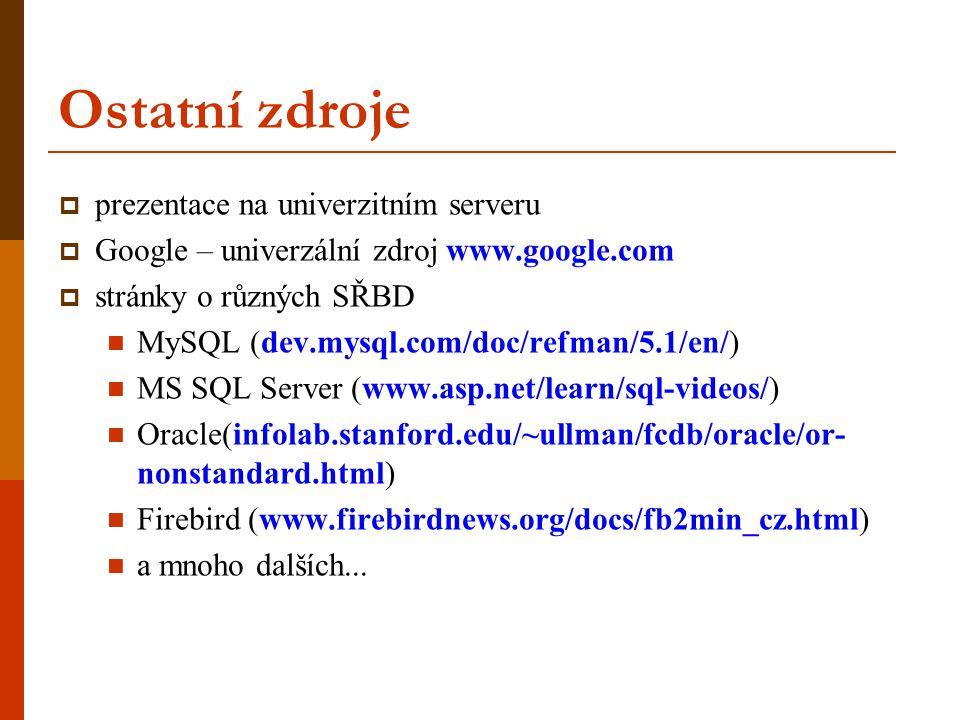 Ostatní zdroje prezentace na univerzitním serveru