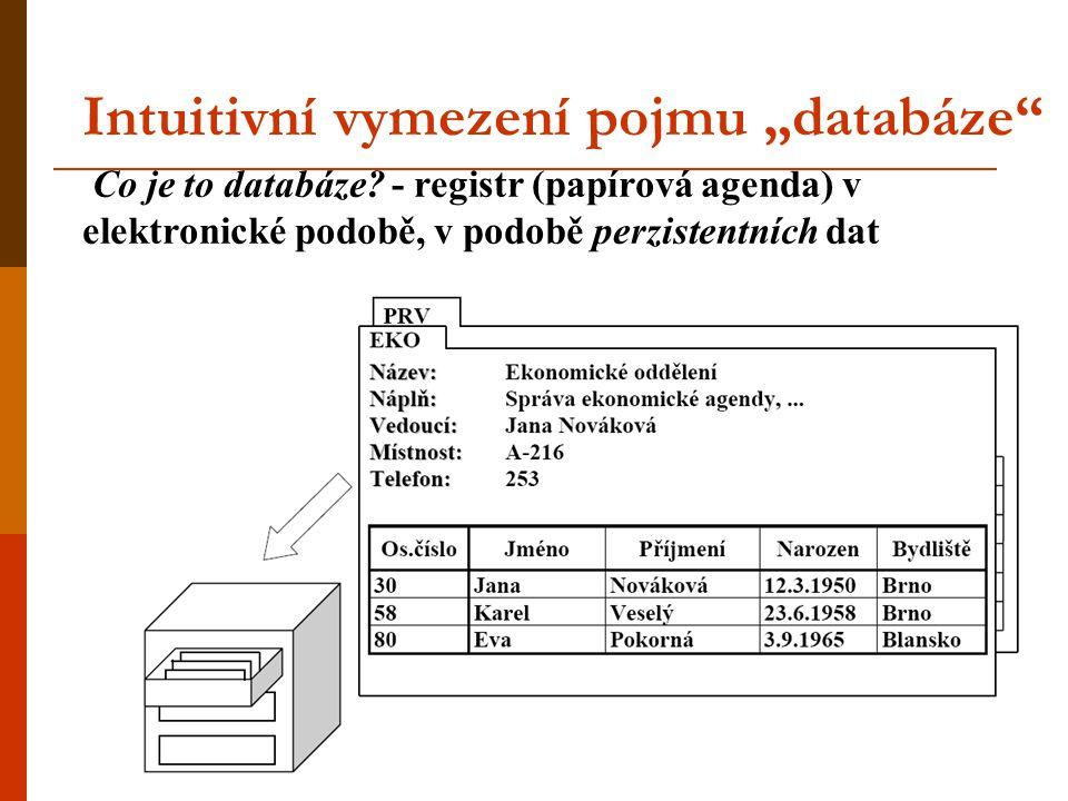 """Intuitivní vymezení pojmu """"databáze"""