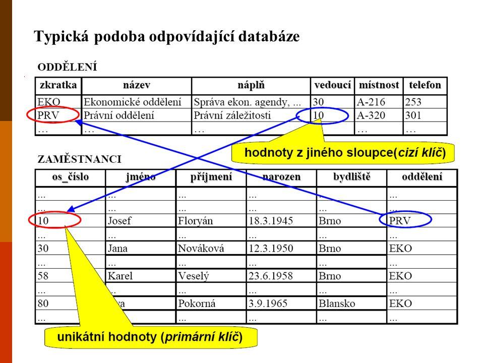 Typická podoba odpovídající databáze