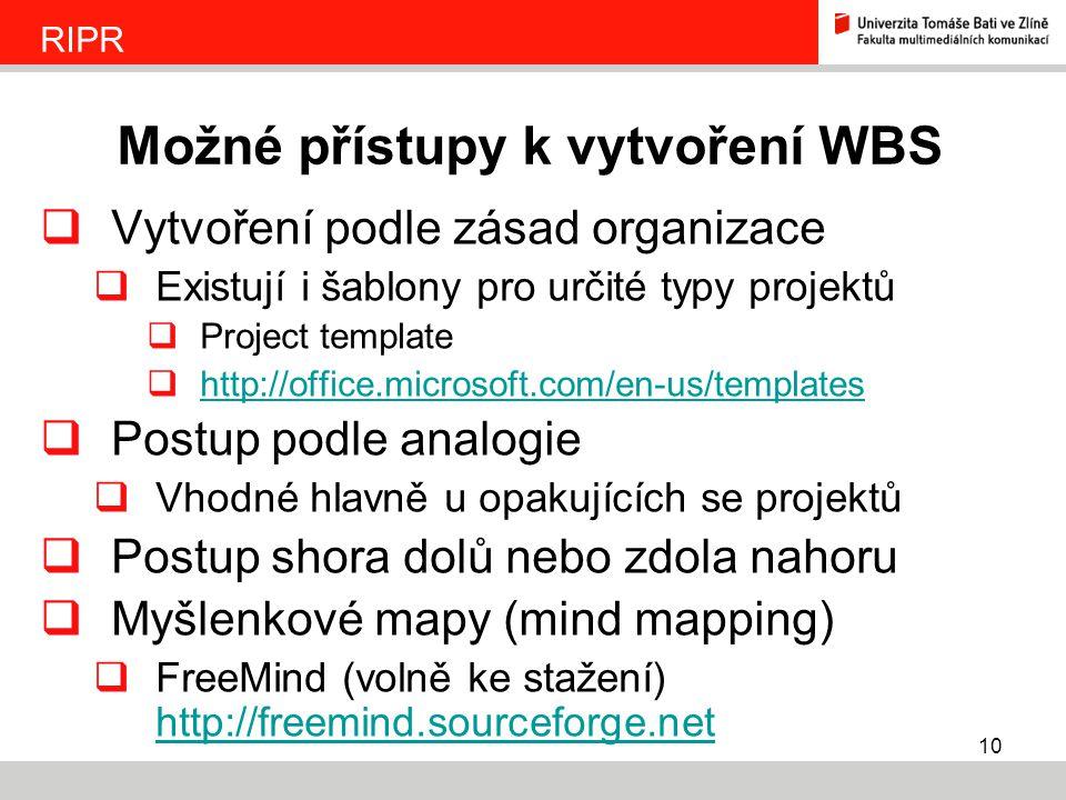 Možné přístupy k vytvoření WBS