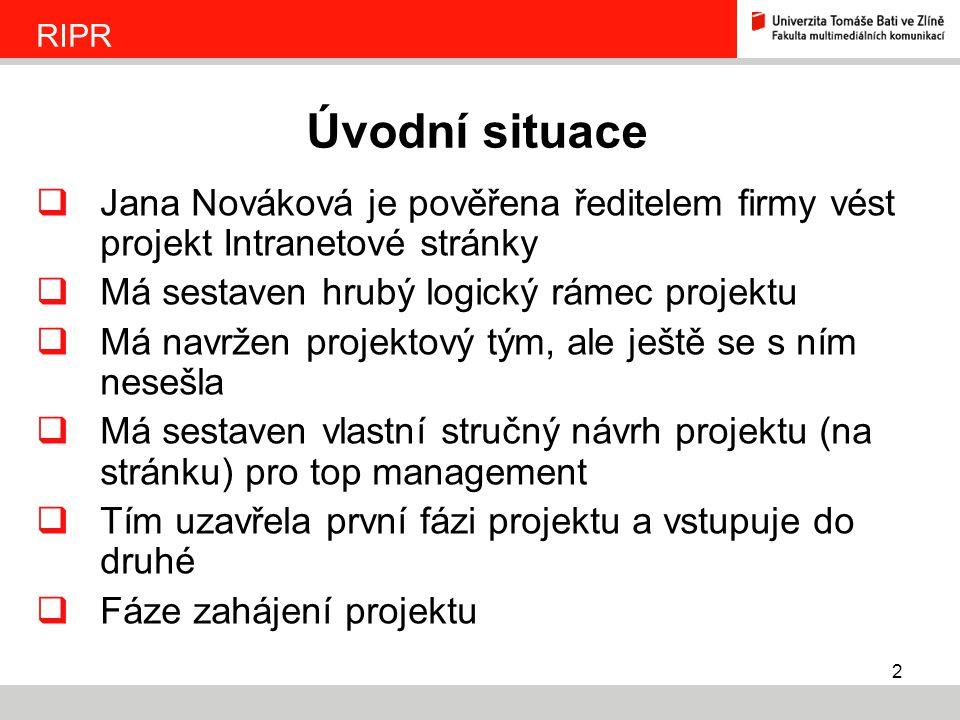 RIPR Úvodní situace. Jana Nováková je pověřena ředitelem firmy vést projekt Intranetové stránky. Má sestaven hrubý logický rámec projektu.