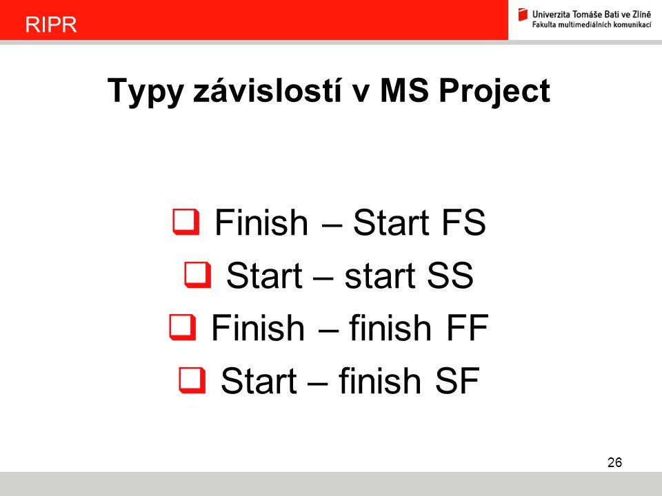 Typy závislostí v MS Project