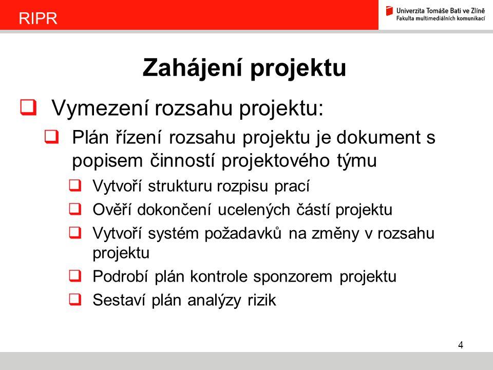 Zahájení projektu Vymezení rozsahu projektu: