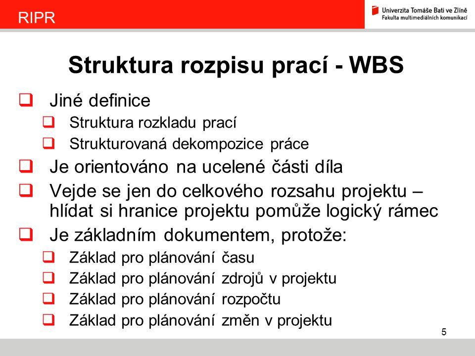 Struktura rozpisu prací - WBS